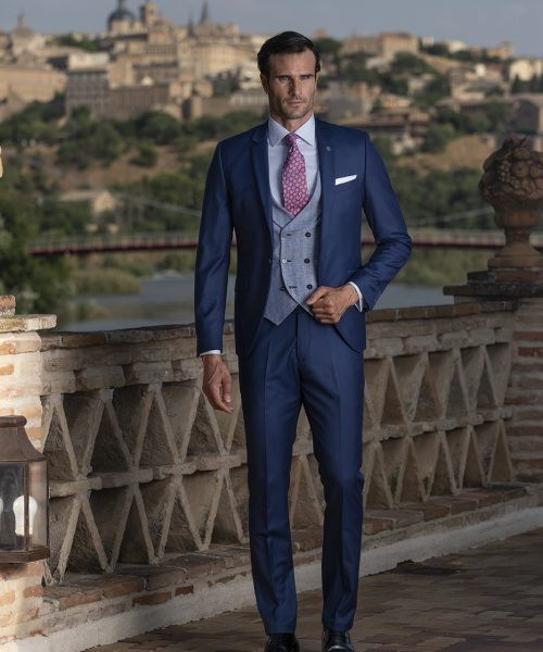 Costum business, clasic, slim, bleumarin Felix Ramiro