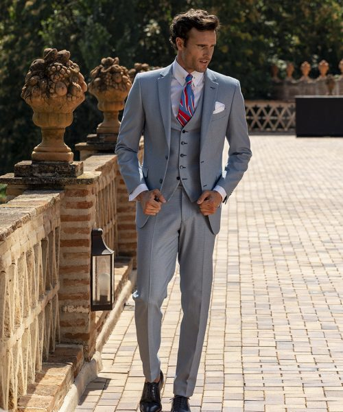 Costum business clasic, slim, culoare gri Felix Ramiro