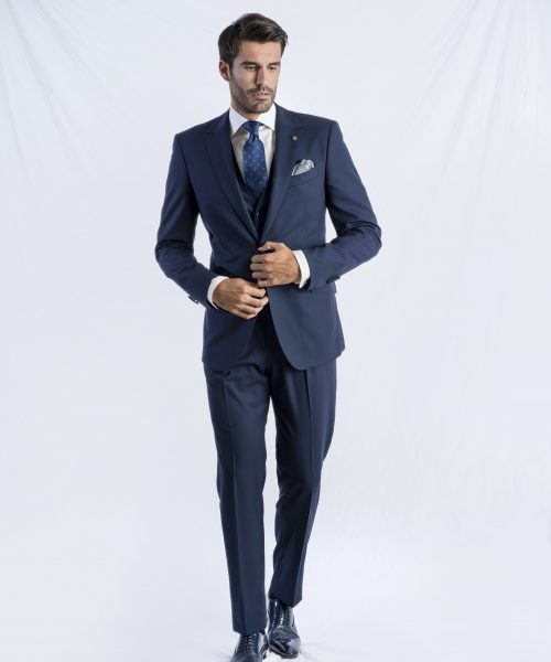 Costum business clasic, slim, bleumarin Felix Ramiro