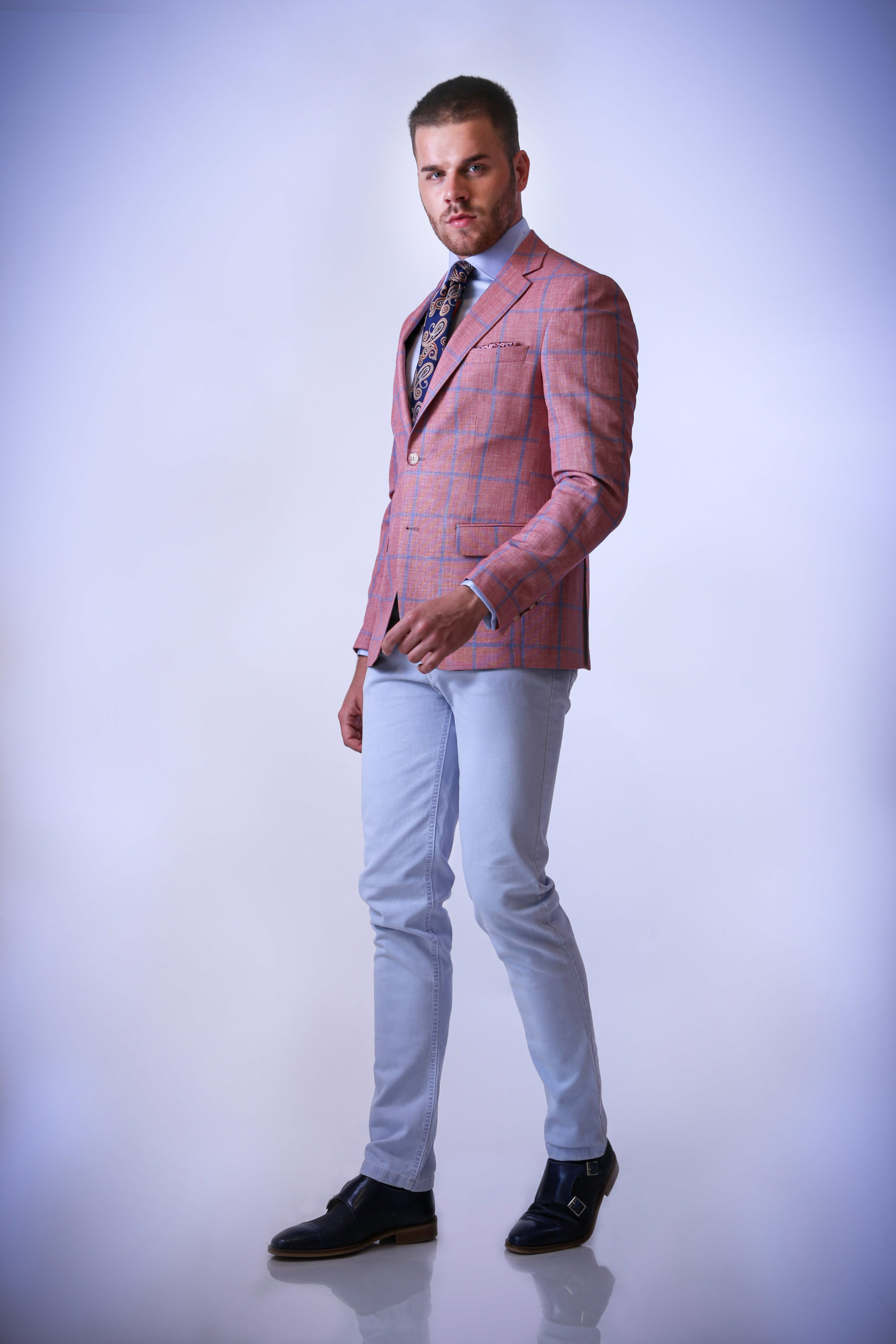 Sacou casual, roz, cu carouri albastre Felix Ramiro